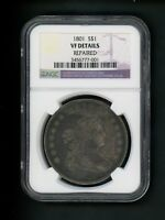 1801 US DRAPED BUST SILVER DOLLAR $1.00 $1 NGC VF DETAILS REPAIRED STILL