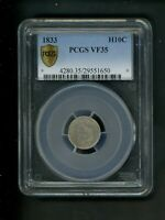 1833 CAPPED BUST HALF DIME H10C 10 CENT PCGS VF35 WELL STRUCK ORIG SURFACES TYPE