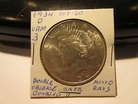 1934 D PEACE SILVER DOLLAR VAM 3 TOP 50 VARIETY