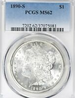 1890-S 1$ MORGAN SILVER DOLLAR  PCGS MINT STATE 62        18-01455