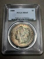 1888 MORGAN DOLLAR $1 PCGS MINT STATE 65 - COLORFUL TONING