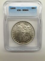 1896-P MORGAN SILVER DOLLAR ICG MINT STATE 64 BLAST WHITE CHECK OUT MY OTHER MORGANS
