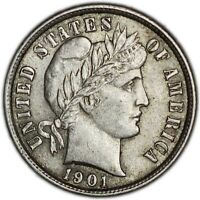 UNITED STATES COIN BARBER DIME 1901. AUNC
