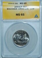 2004 D ANACS MINT STATE 65 WISCONSIN WI QUARTER EXTRA LEAF LOW