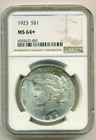 1923 PEACE SILVER DOLLAR UNC MINT STATE 64 NGC