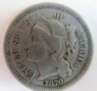 1870 THREE CENT PIECE COPPER NICKEL SHIPS FREE