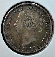 1858 SILVER 20 CENTS COIN FROM CANADA