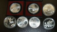 LOT OF 7 CANADA OLYMPIC SILVER COINS    1973 2008 AND ONE $2