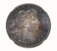 BARBER QUARTERS 1902 25C CHOICE UNCIRCULATED BU  TONED