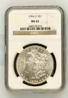 1904-O MORGAN DOLLAR MINT STATE 65 NGC CAC
