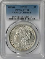 1889-O $1 PCGS AU 53 TOP-100 VAM-1A CLASHED E MORGAN SILVER DOLLAR R-6