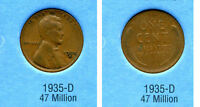 LINCOLN HEAD WHEAT CENT 1935 D AVERAGE CIRCULATED UNITED STATES 1 PENNY COIN B6