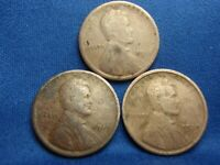 1918, 1919 & 1920 LINCOLN CENTS, LOT OF 3, GREAT CONDITION, SHIPS FREE