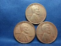 1945 P, D & S LINCOLN CENTS, LOT OF 3GREAT CONDFULL WHEAT LINESSHIPS FREE