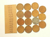 1910 TO 1945 US WHEAT CENTS LOT OF 15 NO DUPLICATES 4469