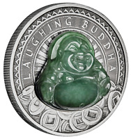2019 LAUGHING BUDDHA $1 DOLLAR 1OZ .9999 SILVER ANTIQUED JADE INSERT COIN