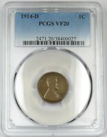 KEY DATE 1914-D PCGS VF 20 LINCOLN WHEAT CENT PENNY 1C US COIN ITEM 21143A