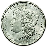 1884 MORGAN DOLLAR, LARGE SILVER ABOUT UNC COIN [4495.21]