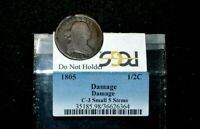 1805 HALF CENTC3SMALL 5 WITH STEMS  PCGS  UNHOLDERED  RARITY 5