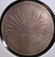 1880 ZS JS SILVER MEXICAN 8 REALES COIN IN LARGE 2.5