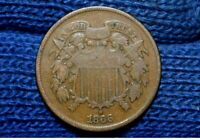 1866 TWO CENT PIECE VG / FINE CHOICE BROWN