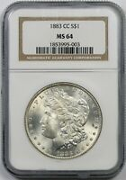 1883-CC $1 NGC MINT STATE 64 MORGAN SILVER DOLLAR