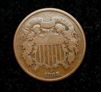 1865 TWO CENT PIECE OLD U.S. TYPE COIN