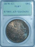 1878 CC PCGS MINT STATE 63 MORGAN SILVER DOLLAR OLD GREEN RATTLER HOLDER OGH GREAT COLOR