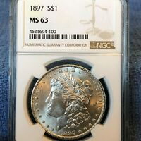 1897 MORGAN SILVER DOLLAR NGC MINT STATE 63