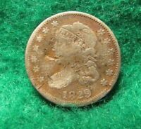 1829 CAPPED BUST HALF DIME , LOW GRADE BENT, SCRATCHED