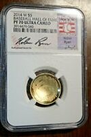 2014 W $5 GOLD BASEBALL HALL OF FAME COIN NGC PF70 ULTRA CAM