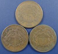 LOT OF 3 TWO CENT PIECES   TWO 1864 AND AN 1865 GOOD TO FINE