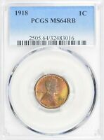 1918 1CT LINCOLN WHEAT CENT PCGS MINT STATE 64RB  18-1665