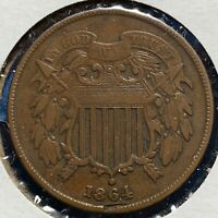 1864 2C TWO CENT PIECE, LARGE MOTTO 52238