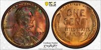 1937 1C LINCOLN CENT PCGS MINT STATE 64RB 37198987, TONED W/ TRUEVIEW F1