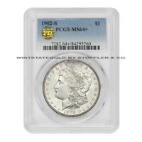 1902-S $1 MORGAN PCGS MINT STATE 64 PQ APPROVED PLUS GRADED SILVER DOLLAR WHITE COIN