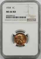 1934 1C NGC MINT STATE 66 RD LINCOLN WHEAT CENT