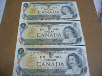 LOT OF 3  1973   CANADA ONE 1 $  DOLLAR BILL  1973  SEE PHOTOS   066 625 412