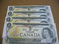 LOT OF 4  1973   CANADA ONE 1 $  DOLLAR BILL  1973  SEE PHOTOS   372 375