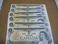 LOT OF 6  1973  CANADA ONE 1 $  DOLLAR BILL  1973  SEE PHOTOS  98 99 40 41 34 35