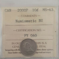 2000P CANADA 10 CENTS COIN  KEY ISSUE CERTIFIED BY ICCS  MS 63 PY 040