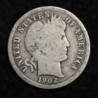 1902-S SILVER BARBER DIME GOOD SHIPS FREE