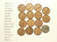 1941S TO 1958 US WHEAT CENTS LOT OF 15 NO DUPLICATES 4656