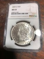 MINT STATE 63 1884-O MORGAN SILVER DOLLAR - OGH - GRADED  NGC MINT STATE 63 VAM 10 HOT 50