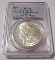 1887 MORGAN SILVER DOLLAR VAM-12A TOP-100 ALLIGATOR EYE R5 MINT STATE 62 PCGS