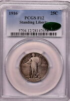 1916 25C STANDING LIBERTY QUARTER PCGS F12 CAC KEY DATE
