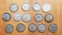 1912  1936  14  DIFFERENT CANADA KING GEORGE V SILVER 10 CEN