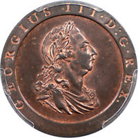 GREAT BRITAIN 1797 GEORGE III CARTWHEEL PENNY PCGS MS 64 RED BROWN GOLD SHIELD