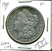 1900 P AU MORGAN DOLLAR 100 CENT  ABOUT UNCIRCULATED 90 SILVER US $1 COIN 1221