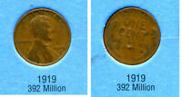 LINCOLN HEAD WHEAT CENT 1919 P AVERAGE CIRCULATED UNITED STATES 1 PENNY COIN B6